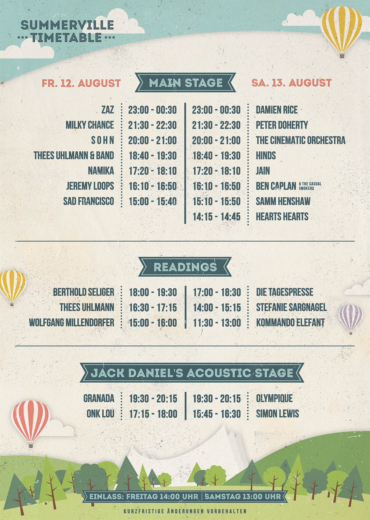 Summerville Wiesen 2016 - Timetable